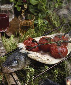 Сибас на костре с печеными помидорами